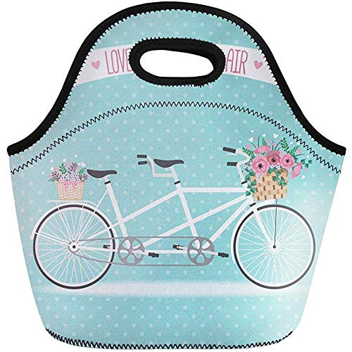 Mannen Vrouwen Opbergtas, Neopreen Lunch Tas, Volwassenen/Kids Totebox, Leuke Fietsmand Vol Bloemen in Modern Flat Work School Kantoor, Picnic Reizen Lunchbox, Outdoor Tote Handtas