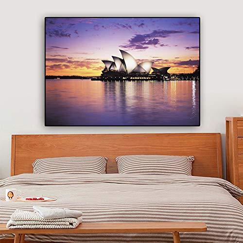 yaoxingfu Kein Rahmen Poster Und Drucke Opernhaus Sydney Australien Wandbilder Für Wohnzimmer Leinwand ng Cuadros 60x90cm