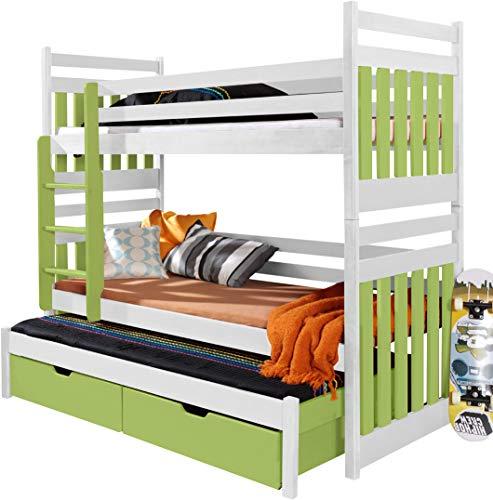 FurnitureByJDM - Triple stapelbed - SAMBOR - Massief, natuurlijk grenen hout met matrassen en opberglades - (Wit / Aquamarijn)