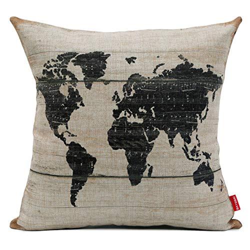 BAYSBAI Funda de almohada de lino y algodón decorativo de 45,7 x 45,7 cm, para sofá, cama, coche, 102012