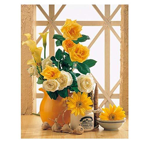 ysldtty Rompecabezas 1000 Piezas Rosas Amarillas Y Crisantemos S para Sala De Estar Rompecabezas Juguetes para Adultos Niños Rompecabezas Patrón De Regalo Juguetes Educativos