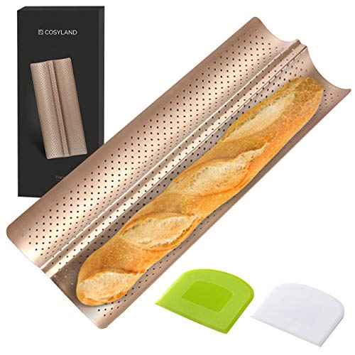 COSYLAND Perforated Baguette Pan for French Bread Baking  2 wave Loaf Nonstick Bake Mold  Dough Scraper  Cooking bakers' tools for Professional amp Home Bakers Gold
