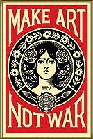 ポスター オベイ Male Art Not War/Shepard Fairey 手書きサイン入り 額装品 アルミ製ハイグレードフレーム(ゴールド)