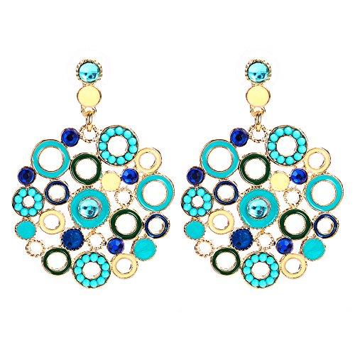 SHANGZHIQIN Classic Fashion Drop Oil Alloy Color Circle Bohemian Women Retro Fashion Pendientes Color