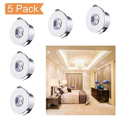 QYHOME Mini LED Einbaustrahler Set,5X 1W Warmweiß LED Deckeneinbaustrahler Schwenkbar COB Deckenspots Aluminium LED [Energieklasse A+++]