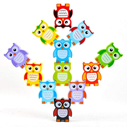 Discovery Toys Stacking Owls Wood Balancing Acrobat Set | Kid-Powered Learning | STEM Toy Early Childhood Development 3 Years and Up