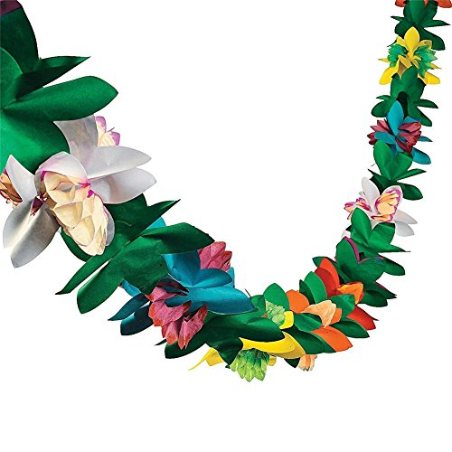 9 Feet Long Tropical Multicolored Paper Tissue Garland Flower Banner for Luau Hawaiian Party Supplies(1-Pack)