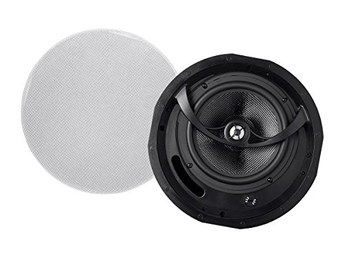Monoprice Alpha 2-Way Ceiling Speakers - 6.5 Inch (Pair) Carbon Fiber, Paintable Magnetic Grille, Louder with Less Power, Non Angled, 8 Inch