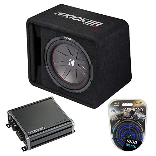 "Kicker Bundle 43VCWR122 12"" 500W CompR Loaded Enclosure w/ CXA800.1"
