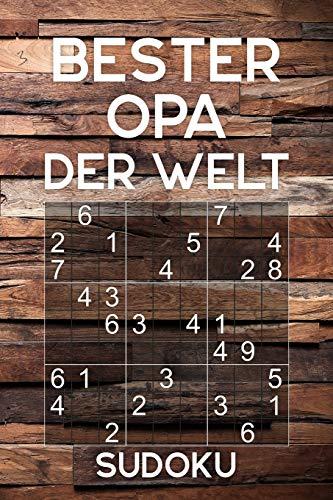 BESTER OPA DER WELT - Sudoku: Rätselbuch als Geschenk für den Großvater   Über 300 Sudoku Rätsel   Einfach - Mittel   Reisegröße ca. DIN A5
