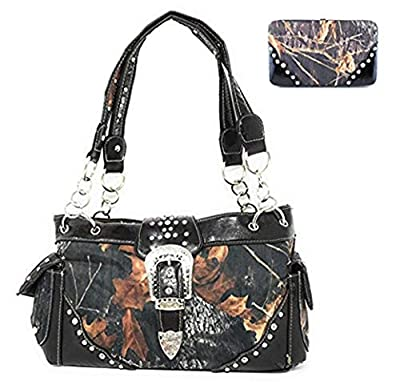 New Style Rhinestone Buckle Concho Camouflage Shoulder Handbag Purse with Matching Wallet in 5 Colors (Brown)