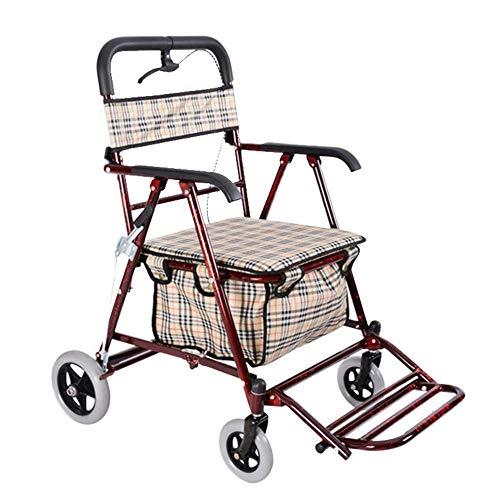 Gehhilfe für ältere Menschen, ein vierrädriger Einkaufswagen zum Aufsetzen für den Haushalt und ein tragbarer Außenwagen für ältere Menschen mit einer maximalen Lastzunahme von 150 kg,Red