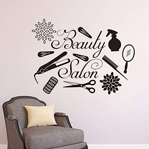 Geiqianjiumai Logo Salon muur kappersgereedschap muursticker make-up vinyl raamsticker studio schoonheid wanddecoratie