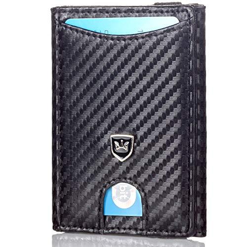 Kronenschein® Premium Herren Geldbörse mit Geldklammer Mini Portemonnaie Männer Geldbeutel schlank RFID Brieftasche Slim-Wallet Portmonee Kreditkartenetui Kartenetui