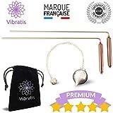 Vibratis Baguettes de Sourcier Professionnelles Modèle Premium & Pendule Divinatoire   Pack Idéal pour Commencer la Radiesthésie [𝗚𝗔𝗥𝗔𝗡𝗧𝗜 𝗔 𝗩𝗜𝗘]