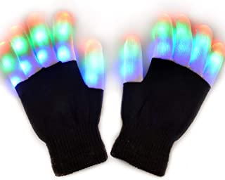 JOLIMENT Kids Flashing Finger Light LED Gloves , Gloves with Lights for Raves Light Shows Featured on Shark Tank Birthday Party Christmas Xmas Halloween Costume Dance Novelty Gifts