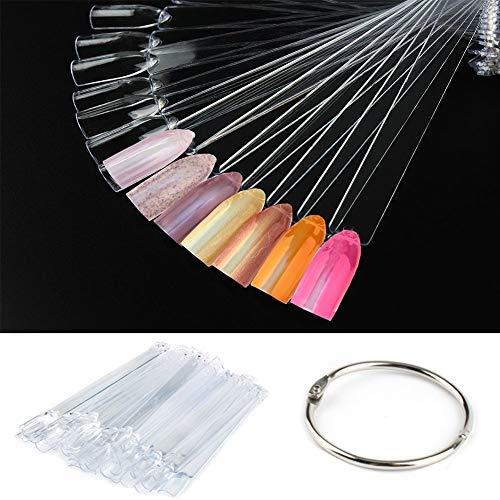 CINEEN 50 pezzi nail art Polish display Sticks false nail tips ventola per Vanish pratica colore spettro display