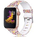 Zekapu Bracelet Compatible avec Apple Watch 38mm 42mm 40mm 44mm pour Femmes Hommes, Durable Imperméable Modèle Imprimé Silicone Remplacement Bracelet pour iWatch 38mm 42mm 40mm 44mm, Coloré Nuage