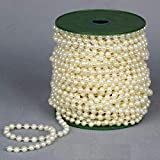 HUNANBANG Large Pearls Faux Crystal Beads by The Roll 10mm Ivory 22 Yards Long Wholesale...