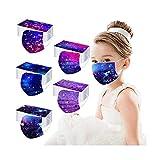 Patrón de Estrellas del Cielo Nocturno - 50 Piezas NIÑOS Deshechable Protección con Elástico para Los Oídos Protege La Boca Protección Facial Alta Filtración a Prueba de Polvo (Mixto)