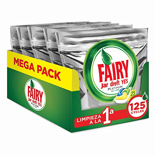 FAIRY Platinum All in One - Cápsulas para lavavajillas, Pack de 125 cápsulas (5 x 25)