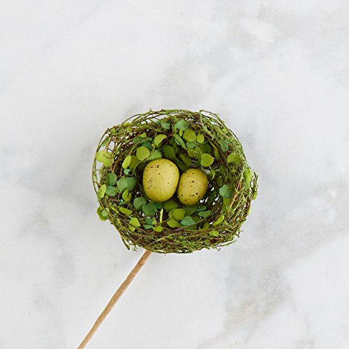 Factory Direct Craft Mossy Artificial Twig Birds Nest Picks with Plastic Egg in Center | 3 Nests | For Indoor Decor