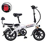 Gpzj Bicicleta eléctrica Plegable, Bicicleta eléctrica Plegable de 14 Pulgadas para Bicicleta de cercanías con batería de Litio extraíble de 48V y 16 Ah Batería antirrobo con Cerradura antirrobo