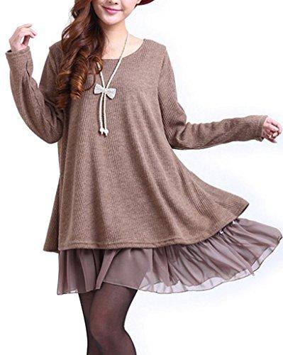 Minetom Damen Strickkleid Langarm Sweatshirt Strickpullover Kleider Pullover Chiffon (Braun EU 38-40 (Tag XL))