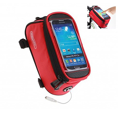 Roswheel Bicycle Bags Bike Bag Bicycle Front Tube Frame Cycling Packages Touch Screen Mobile Phone Bags Professional Bicycle Accessories (red S)