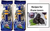Sunsweet Ones Individually Wrapped Pitted Prunes - 2 Packages (each pack is 6 ounces) And a Prune Recipe Book - GREAT VALUE!