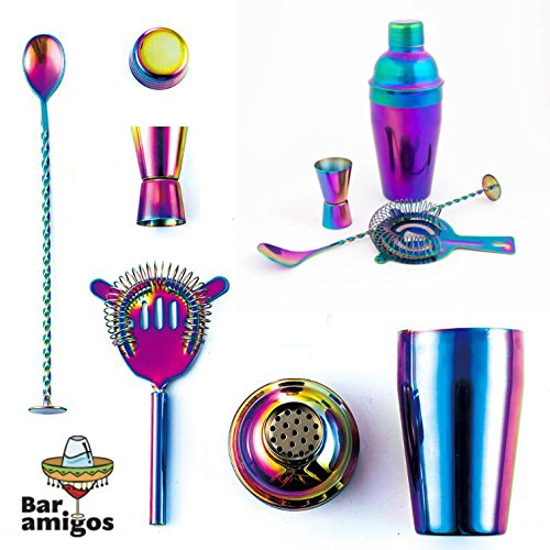 Rainbow Cocktail Shaker Set By Bar Amigos - Colourful Iridescent 5-piece Gift Set Includes Shaker 500ml, Bar Spoon, Muddler, Double Jigger and Hawthorne Strainer | 304 Steel | Dishwasher Safe