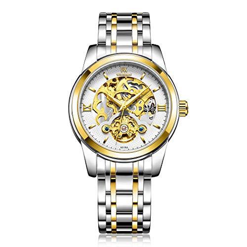Relojes para Hombre Reloj de Pulsera mecánico de Acero Inoxidable para Hombre con Correa de Acero Inoxidable Esqueleto analógico -B