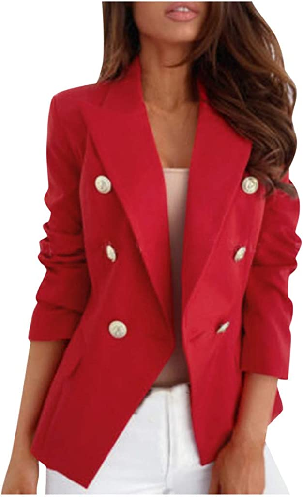 DZQUY Womens Casual Blazers Elegant Plus Size Long Sleeve Open Front Ladies Formal Cardigan Blazer Work Office Jackets