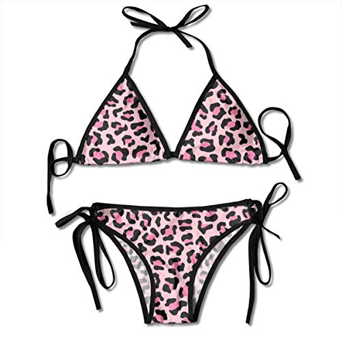 Bikini Pastel Pink Colorful Leopard Fur Pattern Wild Exotic Animal Print Desi Bikini Set Two Piece,Triangle Padded Cut Out Swimsuit for Ladies Swimming Costume