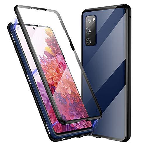 Jonwelsy Cover per Samsung Galaxy S20 Fe, 360 Gradi Anteriore e Posteriore Vetro Temperato Trasparente Custodia, Tecnologia di Adsorbimento Magnetico Bumper Metallo per Samsung S20 Fe (Nero)
