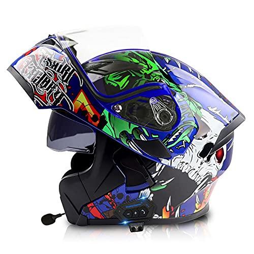 BDTOT Cascos de Moto Bluetooth Modulares con Doble Visera Dot/ECE Homologado Casco Integrado Motocross Racing Micrófono de Auricular con Altavoz Incorporado para Respuesta Automática