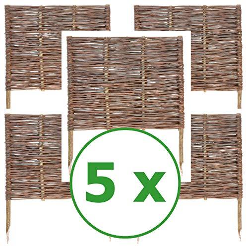 BOGATECO 5 x Beeteinfassung aus Weide | 60 cm Lang & 60 cm Hoch | Holz-Zaun Rasenkante | Weiden-Zaun Steckzaun Perfekt für den Garten als Weg-Abgrenzung