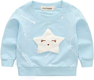 Clothing Baby Girls Clothing Cartoon Pentagram Pattern Long Sleeve T Shirt Casual Tops, Size:M(Pink) Clothing (Color : Light Blue)