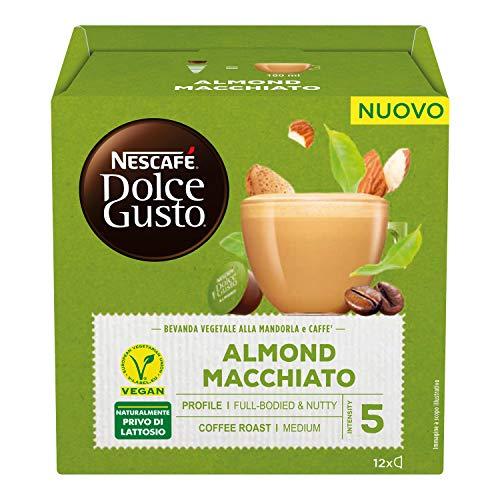 Nescafé Dolce Gusto ALMOND MACCHIATO Bevanda vegetale alla mandorla e caffè 3 confezioni da 12 capsule (36 capsule) - 396 g