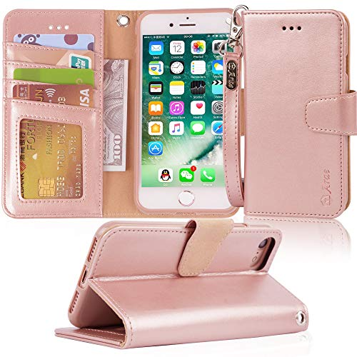 Arae Case for iPhone 7 / iPhone 8 / iPhone SE 2020, Premium PU leather wallet Case with Kickstand and Flip Cover for iPhone 7 / iPhone 8 / iPhone SE 2nd Generation 4.7 inch - Rosegold