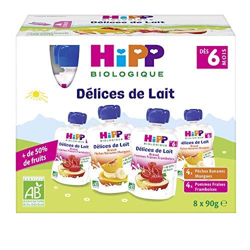 Hipp Biologique Gourdes Multipack Brassés 2 Variétés 6 Mois 4 packs de 8 gourdes de 90 g