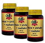 Obire Reishi + shitake + maitake 300 mg - 90 capsulas (Pack 3 unid.)