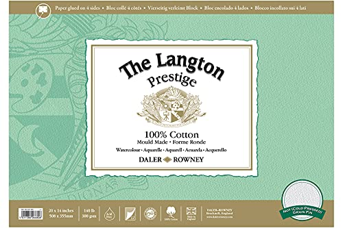 Daler-Rowney Langton Prestige - Bloc para acuarelas (superficie granulada, 50,8 x 35,6 cm)