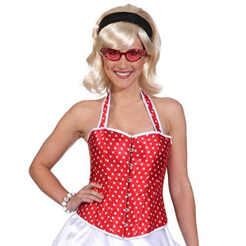 Amakando Korsett weiß gepunktet Rote Rockabilly Corsage L 44/46 50er Jahre Karnevalskostüm Rock'n'Roll Outfit Rockabella Karnevalskostüm Damen Korsage Grease Kostüm