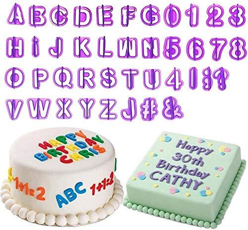 BEIAOSU 40 Teilig Ausstecher Buchstaben Fondant Ausstechformen Alphabet Zahlen Zeichensetzung Tortendeko für Anfänger und Profis