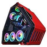 Caja Pc Gamer Caja De Computadora De Torre Media Roja, Caja De PC Para Juegos ATX Preparada Para Refrigeración Por Agua, Panel Lateral De Vidrio Templado, Puertos USB3.0, Para Juegos Y Oficina