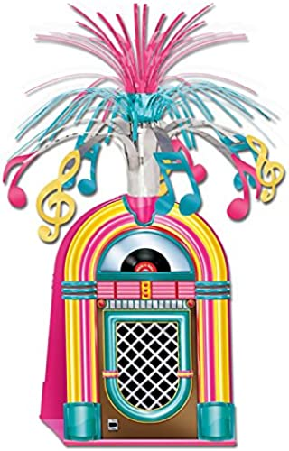 Party Central Club Jukebox mit Lametta-Musiknoten, 38 cm, NeonRosa, Gelb und Blau, 12 Stück