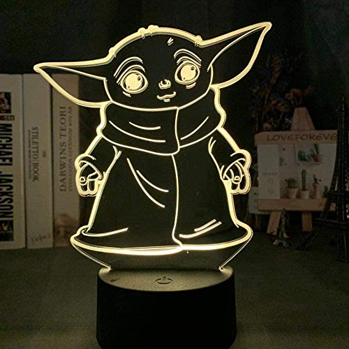 Yoda Star Wars Memes Mini Yoda Luz nocturna 3D - 3D LED Luz de noche ilusión 7 colores LED Touch lámpara con control remoto,Iluminación infantil nocturna