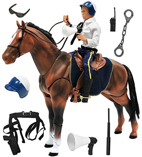 Click N' Play Police on Horse 12' Action Figure Play Set with Accessories