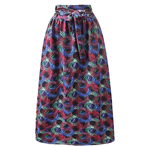 Falda para Mujer,Círculo En Espiral Rojo Estampado Geométrico Cintura Alta Lazo Espalda Cremallera Longitud Étnica India Primavera Verano Versátil Falda Retro Elástica para Mujeres Niñas Fiest